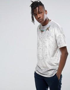 Oversize-футболка из мятого велюра с вышивкой ASOS - Серебряный