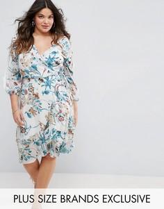 Платье с запахом, цветочным принтом и вставкой Boohoo Plus - Белый
