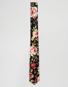 Узкий галстук с цветочным принтом ASOS - Черный