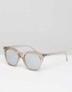 Серебристые зеркальные солнцезащитные очки Le Specs Magin - Прозрачный
