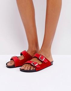 Бархатные сандалии в стиле вестерн с пряжками SixtySeven - Красный
