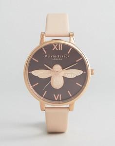 Часы с кожаным ремешком телесного цвета Olivia Burton Bee - Розовый