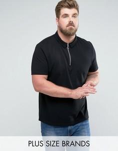 Черная футболка-поло из пике с воротником на молнии ASOS PLUS - Черный