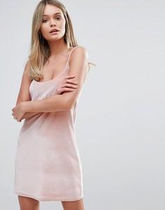Бархатное платье-майка Oh My Love - Розовый