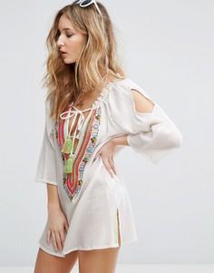 Пляжное платье с отделкой Liquorish - Белый