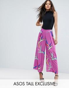 Широкая юбка-брюки с принтом птиц эксклюзивно для ASOS TALL - Мульти