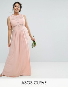 Плиссированное платье макси с кружевным лифом ASOS CURVE WEDDING - Розовый
