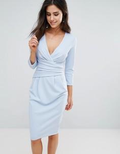 Платье миди с рукавами 3/4 City Goddess - Синий