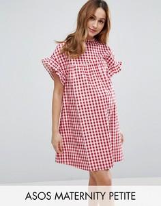 Свободное платье в красную клетку ASOS Maternity PETITE - Красный