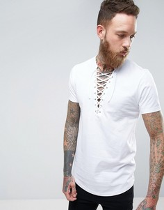 Удлиненная футболка с воротом на шнуровке и закругленным краем ASOS - Белый