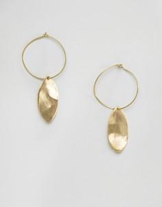 Серьги-кольца с подвесками в виде листьев Made - Золотой
