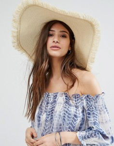 Соломенная широкополая шляпа с бахромой по краю Glamorous - Бежевый