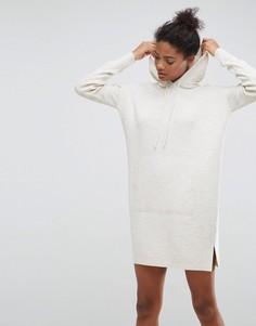 Вязаное платье-джемпер с капюшоном ASOS - Бежевый