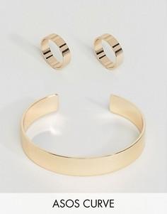 Набор из 3 колец и браслета-манжеты эксклюзивно для ASOS CURVE - Золотой