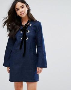Джинсовое платье на вельветовой шнуровке The English Factory - Синий