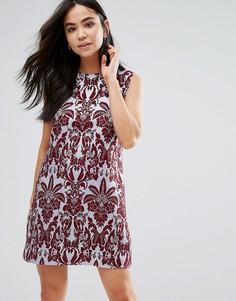 Жаккардовое платье-трапеция без рукавов The English Factory - Красный