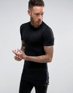 Черная облегающая удлиненная футболка с молниями по бокам ASOS - Черный