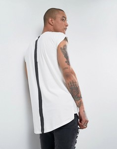 Белая длинная футболка с полосой на спине Sixth June - Белый