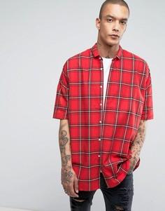 Свободная рубашка в клетку тартан Sixth June - Красный