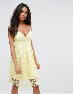 Платье миди из кружева кроше Lipsy - Желтый