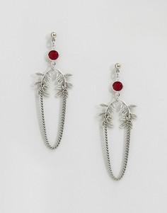 Серьги-подвески с красными кристаллами Swaroski и листьями Regal Rose - Серебряный