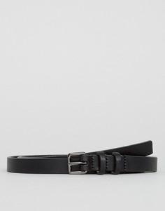 Кожаный узкий ремень Royal Republiq - Черный