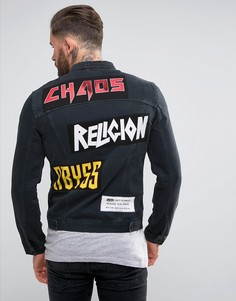Джинсовая куртка с нашивками Religion - Черный