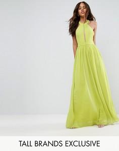Платье макси с глубоким вырезом TD By True Decadence Tall - Зеленый