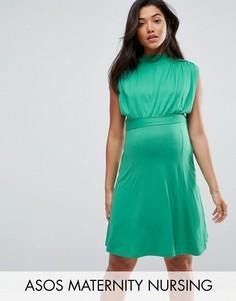 Платье мини с высоким воротом ASOS Maternity NURSING - Зеленый