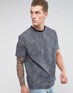 Oversize-футболка с платочным принтом ASOS - Черный