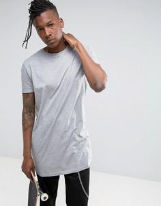 Серая меланжевая футболка свободного удлиненного кроя ASOS - Серый