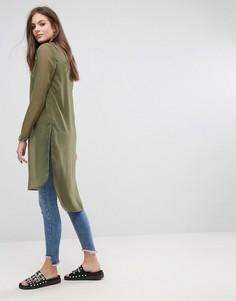 Топ с полупрозрачной спиной Noisy May Olivia - Зеленый