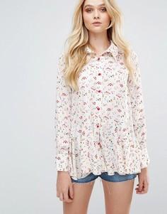 Рубашка с принтом и оборками Love - Мульти