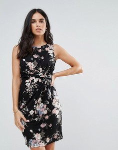 Короткое приталенное платье с принтом Uttam Boutique - Черный