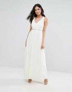 Платье макси с декоративной отделкой Uttam Boutique - Кремовый