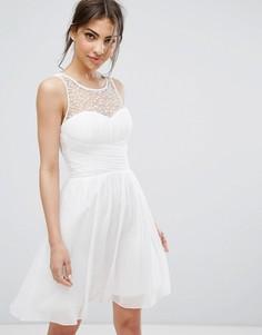 Платье мини для выпускного с отделкой Little Mistress - Белый