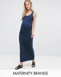 Трикотажное платье макси для кормящих мам Mamalicious - Темно-синий Mama.Licious
