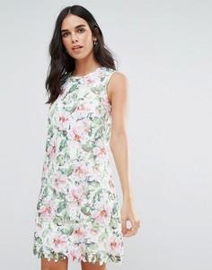 Кружевное платье А-силуэта с цветами Uttam Boutique - Мульти