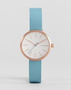 Фирменные часы с кожаным ремешком Skagen - Золотой