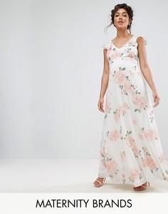 Платье макси с оборками на плечах и цветочным принтом Queen Bee - Мульти