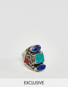 Кольцо с синими камнями Reclaimed Vintage Inspired - Золотой