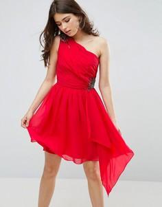 Платье для выпускного на одно плечо с отделкой Little Mistress - Красный