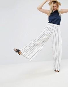 Широкие брюки из крепа в темно-синюю и красную полоску ASOS Tailored - Мульти