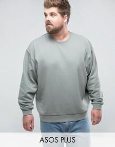 Oversize-свитшот цвета хаки ASOS PLUS - Зеленый