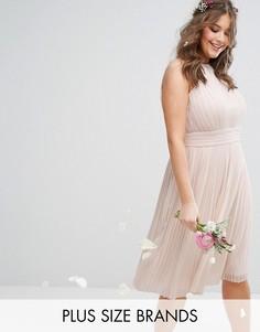 Плиссированное платье миди с вырезом под горло TFNC Plus Wedding - Розовый