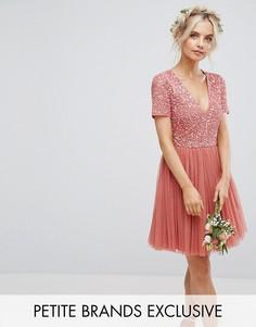 Платье мини с глубоким вырезом, отделкой на топе и юбкой из тюля Maya Petite - Розовый
