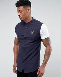 Темно-синяя обтягивающая рубашка с трикотажными рукавами SikSilk - Темно-синий
