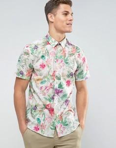 Рубашка с короткими рукавами и гавайским принтом Lindbergh - Белый