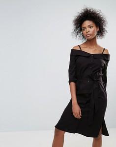 Черное хлопковое платье с открытыми плечами Neon Rose - Черный