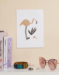 Художественная репродукция на стену формата A5 с изображением фламинго Ohh Deer - Мульти